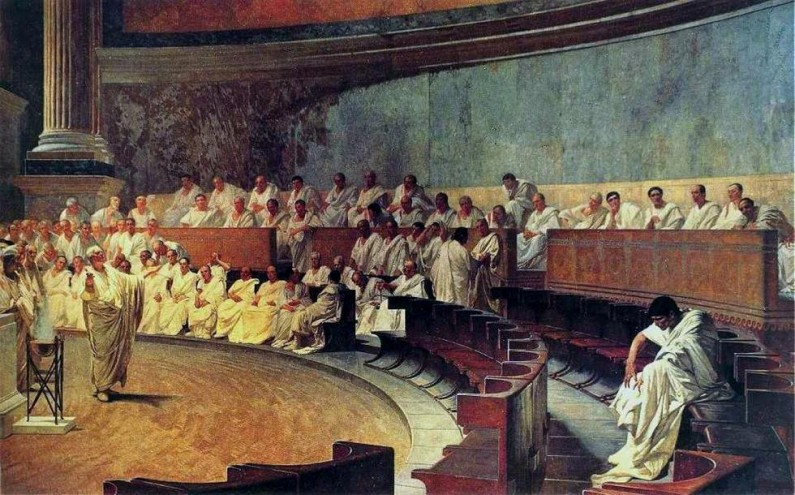 Cesare Maccari: Cicero Catilina ellen. Freskó a római Palazzo Madamában