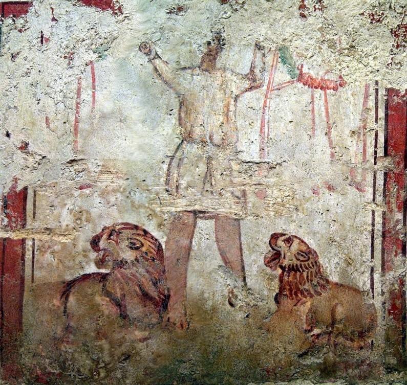 Dániel az oroszlánok között a mártíromság koszorúival